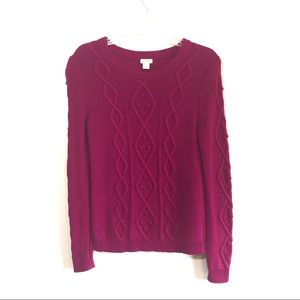 J Crew Cable knit pullover nubby knit magenta